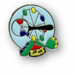 Lapel pin of THRILL Lab logo: magnifying glass looking at Ferris wheel with carousel and roller coaster below