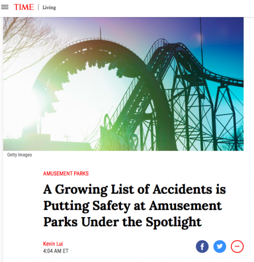 """Screenshot of Time magazine article headline """"A growing list of accidents is putting safety at amusement parks under the spotlight"""""""